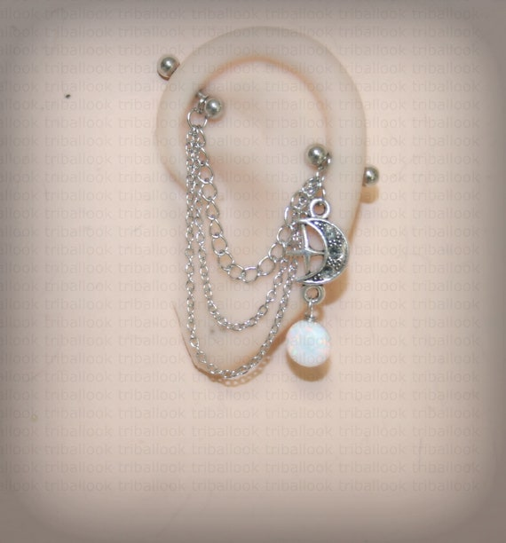 m9 Industrial piercing Industrial piercing chain Moon and Turquoise Howlite Industrial Barbell Industrial bar earring