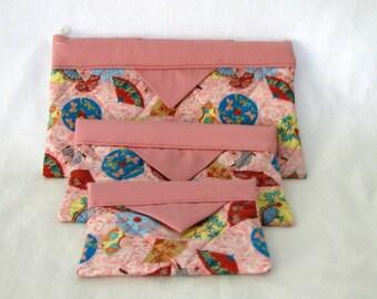 Snap Bag / pouch / cosmetic case / pencil case - Pale Rose Oriental
