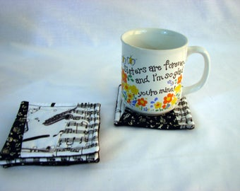 Music Coasters - black and white - cotton - reversible