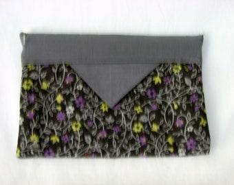 Snap Bag / pouch / cosmetic case / pencil case - Gray Floral vines