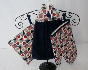Potholders, Oven Mitts & Towel Set  - American Plaid - red, white and blue - cotton