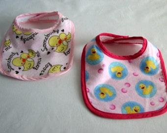 Bib- Ducks - set of 2 - flannel - pink