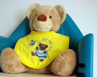 Bib -  Girl Bear -set of 2 - yellow flannel