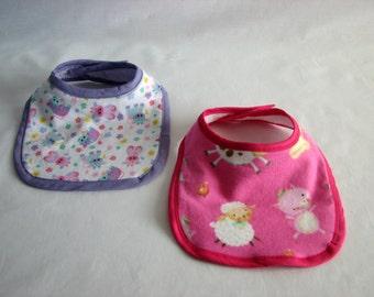 Bib - Farm Animals - set of 2 - girls - pink & purple