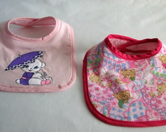 Bibs -  Bears - set of 2 -  embroidered - girls - pink flannel