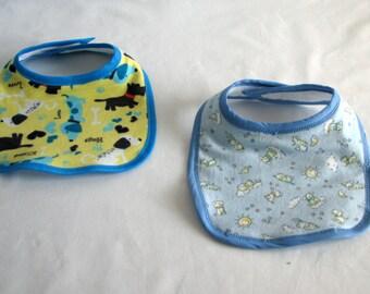 Bibs - Dogs - Set of 2- Blue - flannel