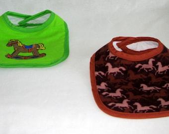 Bibs - Rocking Horse - set of 2 - flannel