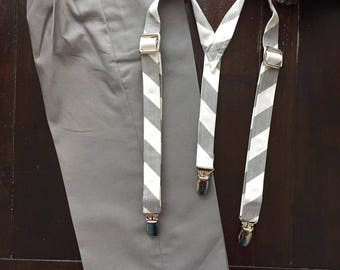 Ring Bearer Pants and Suspenders in Cotton fabric handmade by TwoLCreations