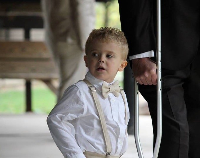 Linen Ring Bearer Outfit, 2 Piece Set, Ring Bearer Bow tie, and Suspenders.  Wedding Outfit for Ringbearer