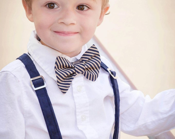 Linen Ring Bearer Outfit; Linen Newsboy Hat, Linen Pants, Cotton Bow tie and Suspender Outfit.