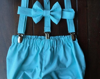 Boy's Smash Cake Outfit, Birthday Boy Outfit,  Bow tie, Suspenders, and Diaper Cover