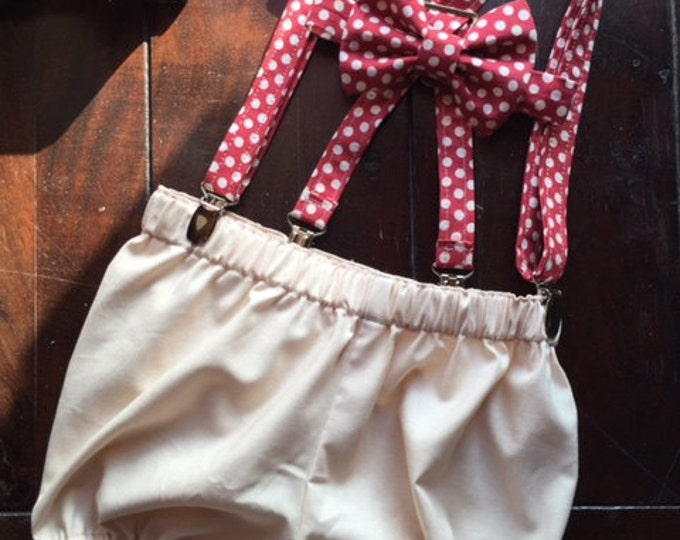 Boys Vintage Smash Cake Birthday Set; Vintage Red and Beige Polka Dot Bow tie and Suspender Set, Bow tie, Suspender
