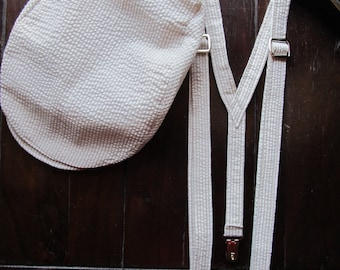 Linen Ring Bearer 2 Piece Set, Ring Bearer Suspenders, and Newsboy hat. Wedding Outfit for Ringbearer
