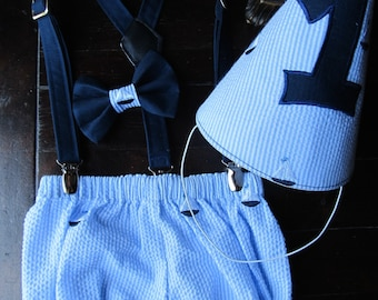 Nautical Smash Cake Outfit, Birthday Boy Outfit,  Bowtie, Suspenders, Diaper Cover and Party Hat