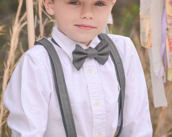Ring Bearer Attire; 4 Piece SHORT Set, Ring Bearer Bow tie, Suspenders, Newsboy hat and Shorts. Wedding Outfit for Ringbearer