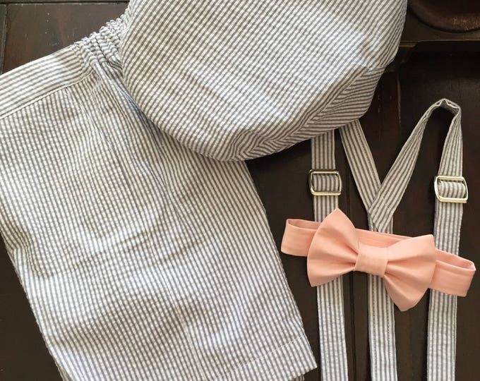 Ring Bearer Outfit in Cotton Seersucker; Newsboy Hat, Suspenders, Bow Tie, and Shorts handmade by Two L Creations