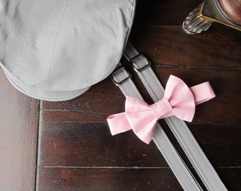 Cotton Ring Bearer Outfit; 3 Piece Set, Ring Bearer Bow Tie, Ring Bearer Suspenders, and Newsboy Hat. Wedding Outfit for Ringbearer