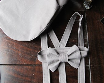 Linen Ring Bearer Outfit, 3 Piece Set, Ring Bearer Bowtie, Suspenders, and Newsboy Hat. Wedding Outfit for Ringbearer