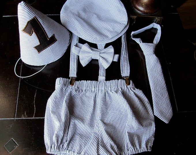 Boys Smash Cake Outfit, Boys Birthday Outfit: Bow tie, Suspenders, Neck Tie, Diaper Cover, Newsboy Hat, Party Hat made by TwoLCreations