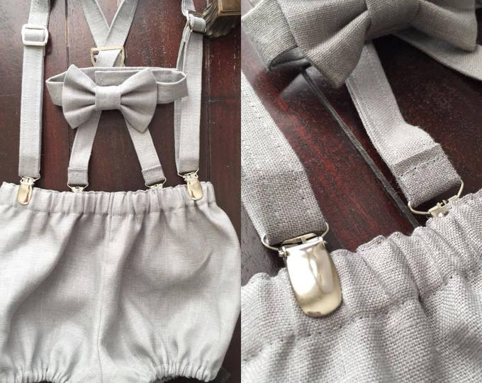 Vintage Linen Boys Diaper Cover Set; Set includes, Bow tie, Suspenders, and Diaper Cover