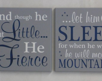 New Baby Boy Gift | Set of Two Signs | Painted Gray and Navy Blue | Baby Boy Nursery Decor | Baby Shower Gifts