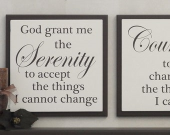 Serenity Prayer - God Grant Me The Serenity To Accept The Things I Cannot Change - Wood Sign Religious Wall Art - Chocolate Brown or Black