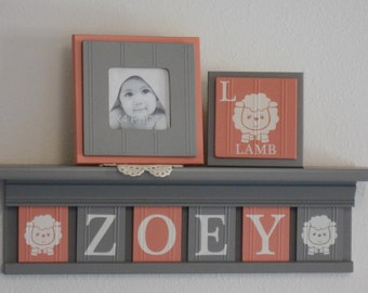 c0b12d45be6a Lamb Nursery Name Letters Custom Painted Block Plaques in Coral and Gray on  a Personalized Grey Shelf