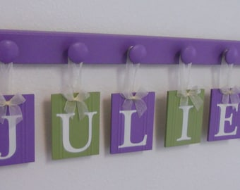 Baby Name Wall Letters for Purple Green Nursery, Hanging Ribbon Decor Sign in Lilac and Green, Personalized Block Plaques Girl's Room Gift
