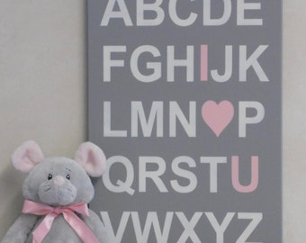 Alphabet ABC I Love You - Pink and Gray Baby Girl Nursery Wall Art, Baby Shower, Birthday Decoration Sign