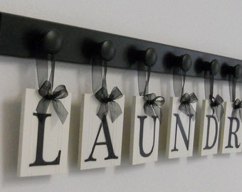 Laundry Room Sign Wall Decor Personalized Hanging Letters includes Wooden Hook Hangers and Letters LAUNDRY in Black or Brown