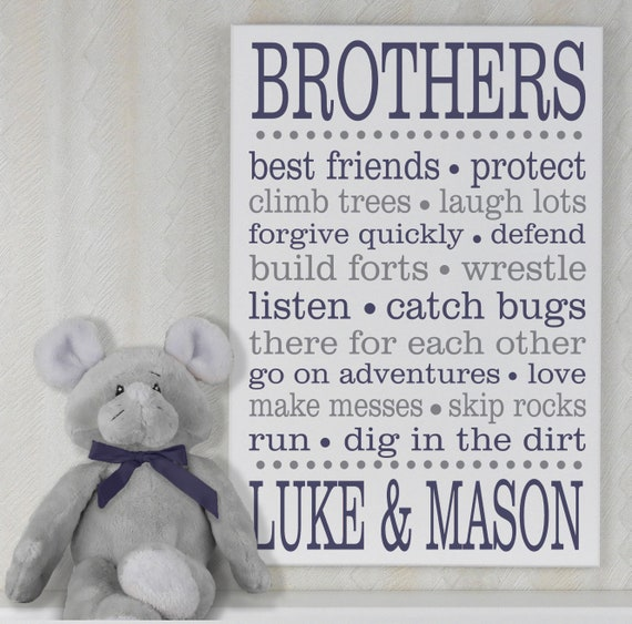 BROTHERS - Personalized Brother Sign with Names, Boy Sibling Signs