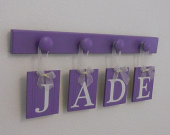 Purple Personalized Children Decor | Wooden Custom Kid Name Signs | Letters in Lilac | Baby Nursery Hanging Wall Art | Gift for Toddler Room