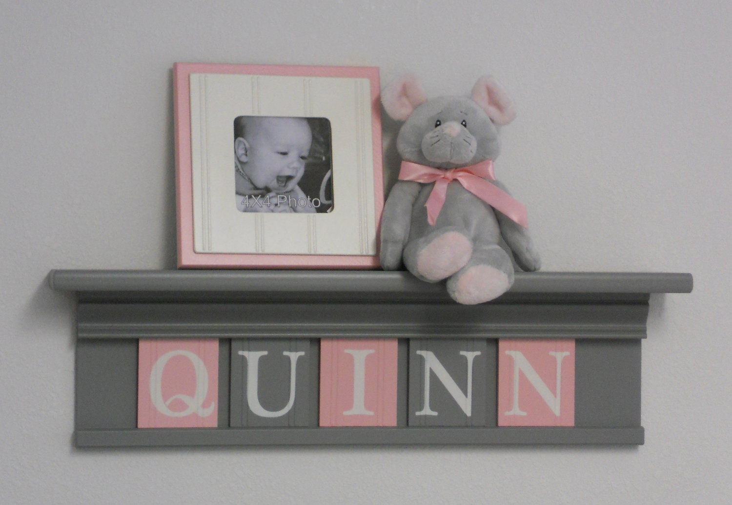 Pink and Gray Nursery Shelves Butterfly Kisses Grey Sign  Pink And Grey Bookcase