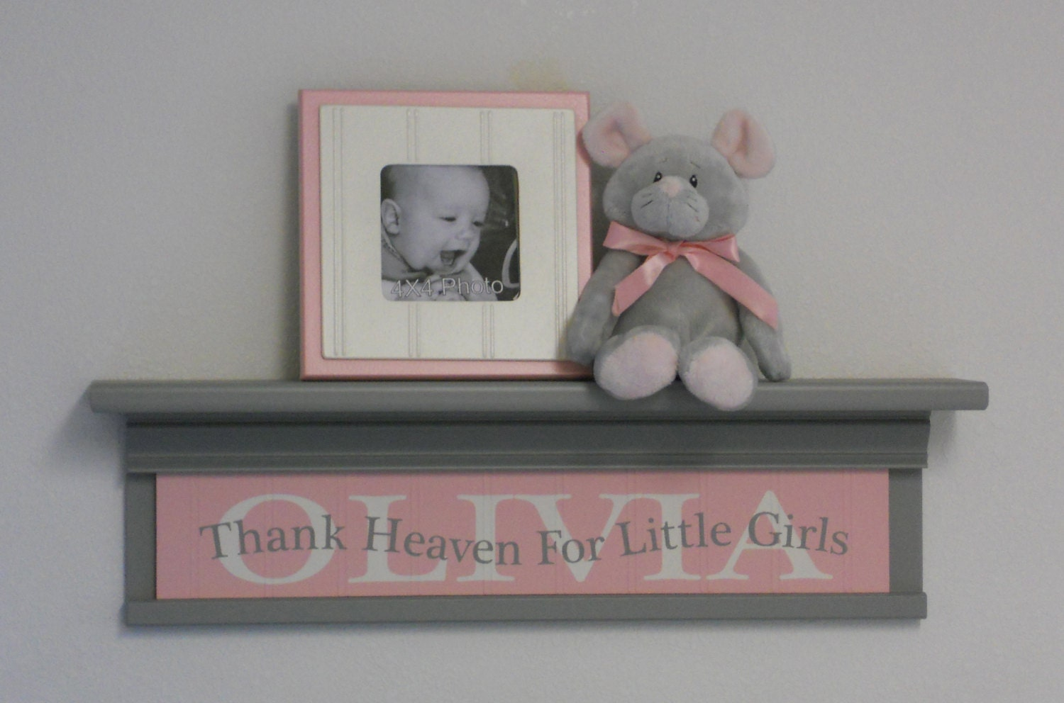 Pink Gray Baby Girl Nursery Decor 24 Grey Wall Shelf