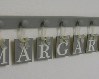 Baby Room Letters | Baby Girl Nursery Decor | Hanging Ribbon Wooden Block Letters | Painted in Gray | Custom Wood Signs for Bedrooms