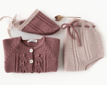 Homecoming baby set, newborn outfit, knitted baby cardigan, cap and diaper cover. Mauve and nude.