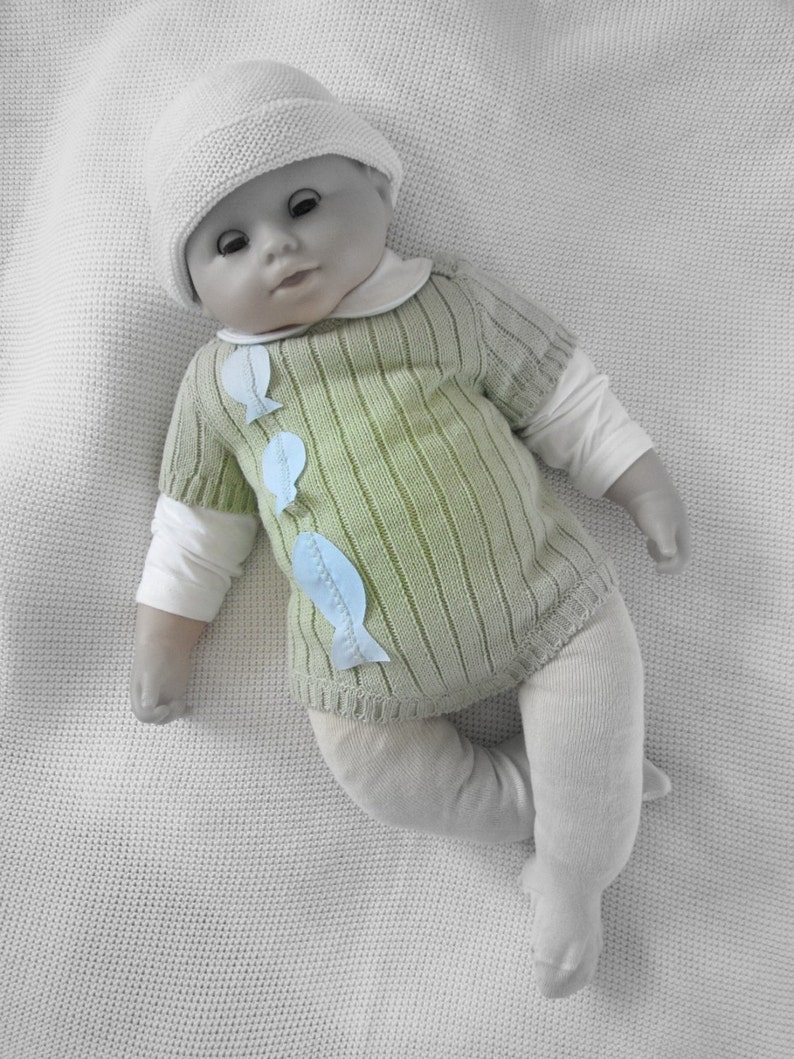 READY TO SHIP size newborn. Knitted ribbed onesie in ocean green with fishes 100/% cotton