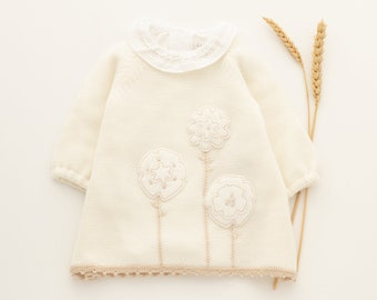 Knitted baby dress with felt flowers. Off White and Pearl. 100% Merino wool. READY to SHIP size 1-3 Months