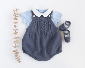 Homecoming baby set, newborn outfit, knitted baby romper and crib shoes, dark blue denim, newborn clothes, Newborn.