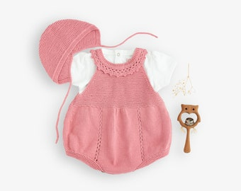 Homecoming outfit, knitted overalls, baby bonnet. Baby outfit. Romper. 100% cotton. Newborn.