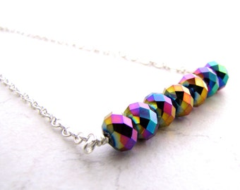 Rainbow Necklace, Rainbow Crystal, Unicorn Necklace, LGBT, Gay Pride, Equality, Genderfluid, Nonbinary