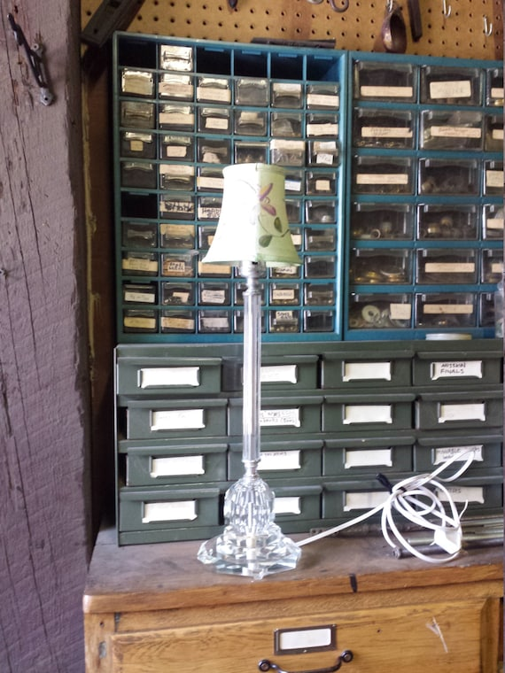 Candlestick Lamp Vintage Crystal Lamp Painted Shade Small Table Lamp