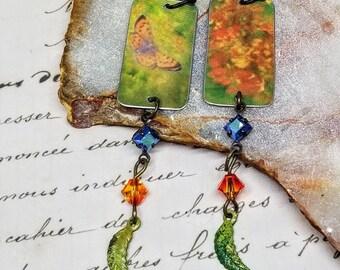Butterfly Tin Earrings, Butterfly Earrings, Summer Earrings, Orange Butterfly Earrings, Butterfly Flower