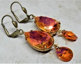 12 GOLD HYACINTH GLASS rhinestone vintage gem 18pp gold stud earrings v837