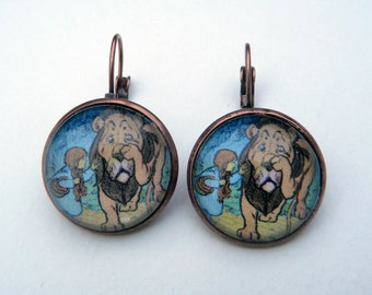 Wizard of Oz Earrings, Oz Earrings, Dorothy and Cowardly Lion, Oz Jewelry