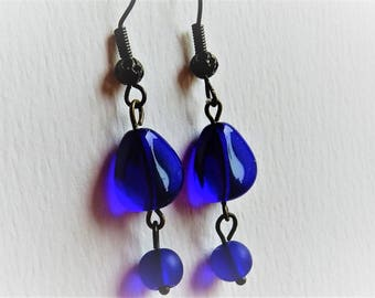 Cobalt Blue Earrings, Blue Glass Earrings, Cobalt Blue Jewelry, Drop Earrings