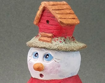 Short snowman resin figurine