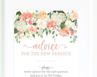 Advice for the mom to be / advice cards / baby shower games / baby shower decor / new parents / floral baby shower / mom-to-be