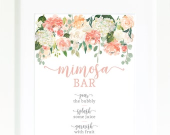 Mimosa Bar Printable / Instant Download / Shower Decor / Mimosa Sign / Bridal Shower Signage / Bridal Luncheon / Monograms and Mimosas