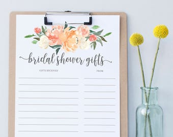 Floral Shower Gift List / Printable / Gift Tracker / Bridal Shower Gift List / Thank You Notes / Gift List Sheet / Gift Sheet / Download